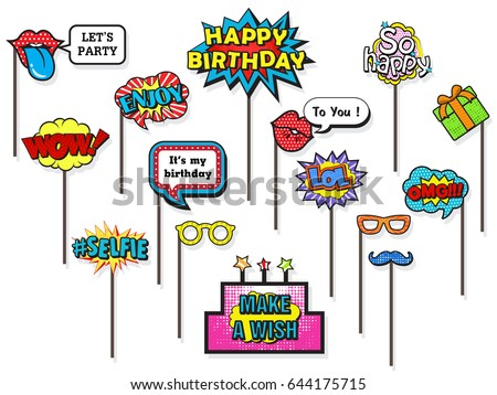 Props for photos Booth on Happy Birthday party, featuring cute and funny costume, doodle comic speech bubble on isolated white background. Vector illustration collection. Foto d'archivio ©