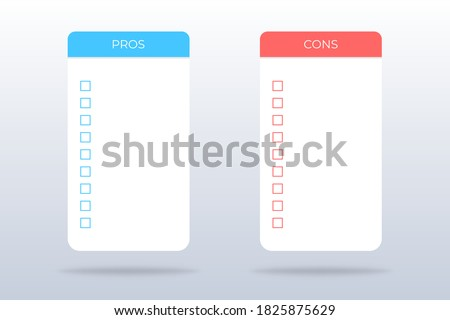 Pros and cons checklist. Isolated positive and negative survey. Evaluation of plus and minus. Pros and cons mockup in blue and red with check mark ticks. Compare pros and cons. Vector EPS 10