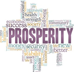Prosperity vector illustration word cloud isolated on a white background.