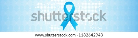 Prostate cancer awareness campaign concept. November month. Blue ribbon on background whith white digital map, like as healthy clean cells. Vector horisontal illustration. Men's health