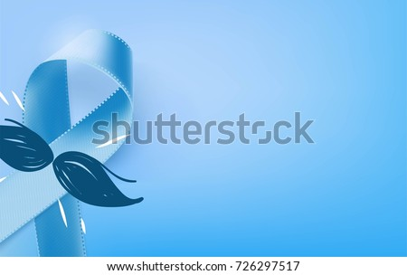 Prostate Cancer Blue Awareness Ribbon Background. Prostate cancer awareness symbol, isolated on blue background. Vector illustration