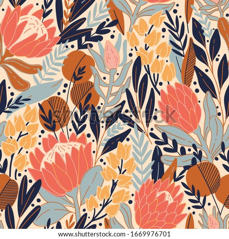 Protea and eucalyptus leaves pattern. Seamless motif for wrapping, wallpaper, fabric, decoration print. Vector illustration Stock foto ©