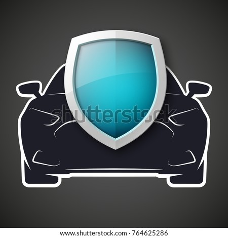 Protect car guard shield. Safety badge vehicle icon. Privacy automobile banner shield. Security auto label. Defense motor car. Defense safeguard shield motor vehicle. Car alarm system. Auto insurance