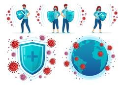 Protect from corona virus. People fight Covid-19, health shield vs virus and coronavirus around world globe vector illustration set. Covid-19 and virus protection, influenza dangerous