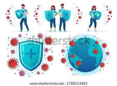Protect from corona virus. People fight Covid-19, health shield vs virus and coronavirus around world globe vector illustration set. Covid-19 and virus protection, influenza dangerous Сток-фото ©