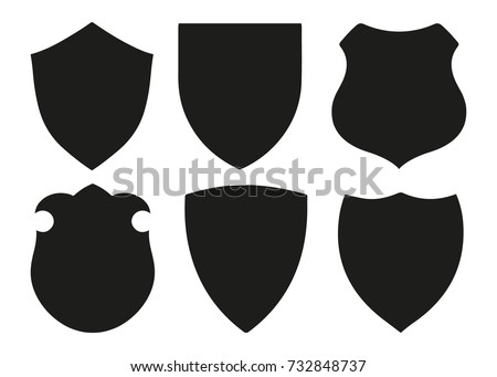 Protect Guard Shield Plain Line Concept Badge Safety Icon Set Privacy Banner Kit
