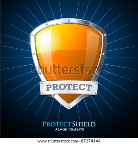 Protect orange shield on blue background - stock vector