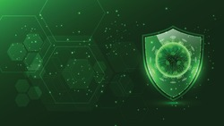 Protect shield with virus cell on background,vector illustration.