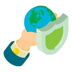 Protect world icon. Isometric illustration of protect world vector icon for web