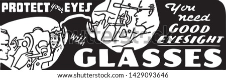 Protect Your Eyes With Glasses - Retro Ad Art Banner