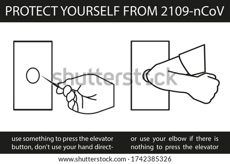 protect yourself from 2019-nCoV, pressing the elevator button doesn't use direct hands, push the elevator button using something, push the elevator button using the elbow