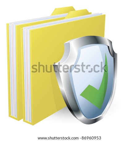 Protected folder document concept. File with green tick shield icon. - stock vector