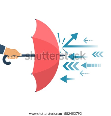 Protected from attack, concept. Defender business metaphor. Financial security. Businessman is holding an umbrella as a shield reflecting the attacks.