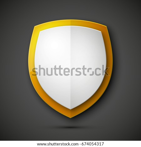 Protected guard shield concept. Safety badge color icon. Privacy colorful banner shield. Security label. Defense tag. Presentation shining sticker shield. Defense safeguard sign. Vector illustration