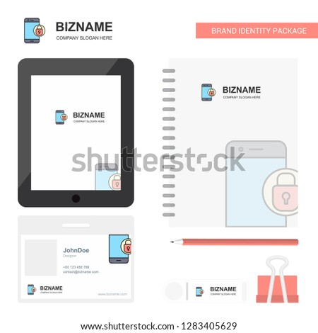 Protected smartphone  Business Logo, Tab App, Diary PVC Employee Card and USB Brand Stationary Package Design Vector Template #1283405629