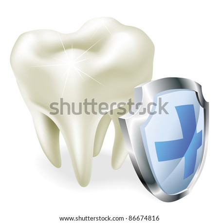 Protected teeth concept. Shiny tooth illustration with protective shield symbol.