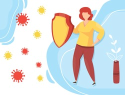 Protection against viral infections. a Woman with a shield fights off an attack of infection. Protection against Coronavirus  COVID-19 epidemic. Pandemic prevention. Vector illustration.