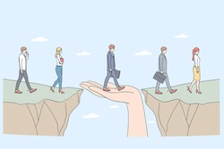 Protection and partnership concept. Human hand helping business people to step from one side to another supporting as help service assistance with insurance care vector illustration