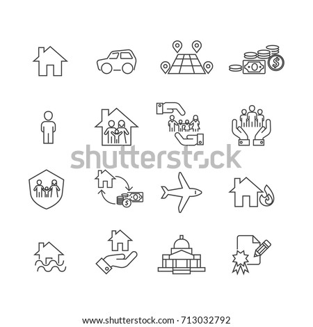 Protection and People icons set,Vector