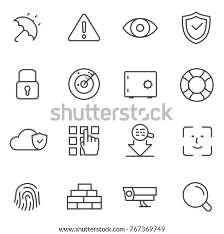 Protection and security icons set. Data protection technology. Vector linear icon. Line with Editable stroke