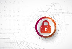 Protection concept. Security mechanism, system privacy. Digital technology background. Vector
