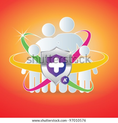 Protection Family Icon - Person vector woman, man. Child