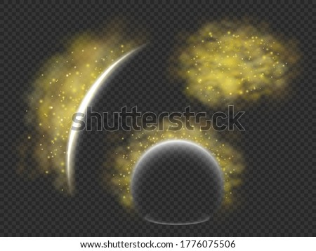 Protection from pollen allergy a vector concept, illustration of barrier or energy field that deflects yellow pollen clouds, templates set for seasonal allergy  themed designs Stock photo ©
