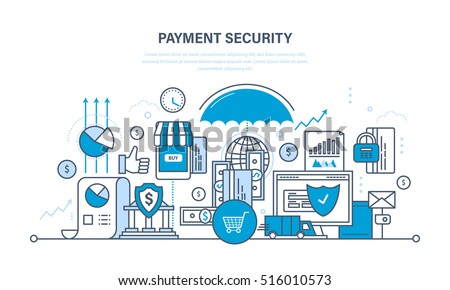 Protection, guarantee payment security, finance, cash deposits, insurance, purchases and money transfers, analysis of finance. Illustration thin line design of vector doodles, infographics elements.