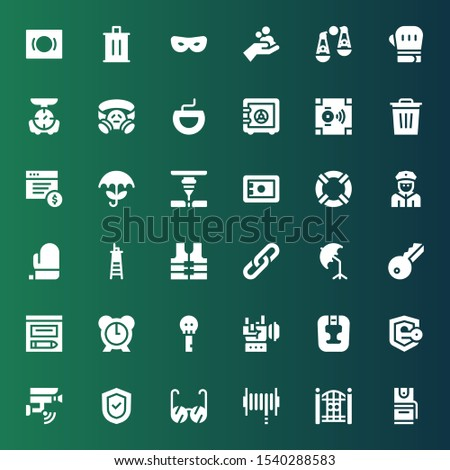 protection icon set. Collection of 36 filled protection icons included Pepper spray, Fence, Hose, Glasses, Shield, Cctv, Security, Headgear, Rock, Key, Alarm, Evidence, Umbrella
