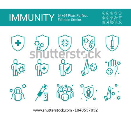 Protection immunity icon set. 64x64 Pixel Perfect. Editable Stroke.
