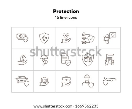 Protection line icon set. Shield, transportation, policy. Guarantee concept. Can be used for topics like insurance, accident, property Stockfoto ©