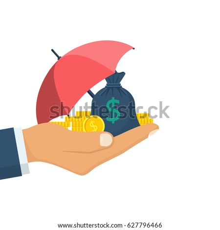 Protection money concept. Bag of coins under an umbrella hold in hand. Secure investment, insurance. Vector illustration flat design style. Shield to protect savings. Finance safety.