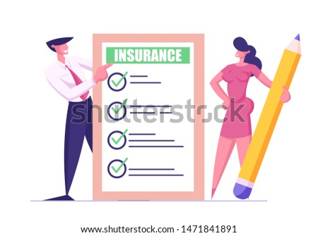Protection of Health, Life, Real Estate and Property Interests. Business Man in Suit and Young Woman with Huge Pencil Holding Insurance Certificate with Checklist. Cartoon Flat Vector Illustration