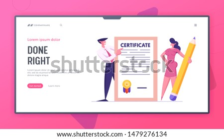 Protection of Health, Life, Real Estate and Property Interests Website Landing Page. Business Man and Woman with Huge Pencil Hold Insurance Certificate Web Page Banner Cartoon Flat Vector Illustration