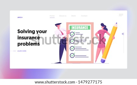 Protection of Health, Life, Real Estate and Property Interests Website Landing Page. Business Man and Woman with Pencil Holding Insurance Certificate Web Page Banner. Cartoon Flat Vector Illustration