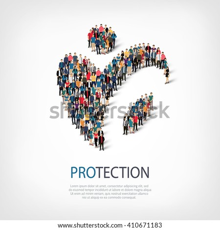protection people sign 3d