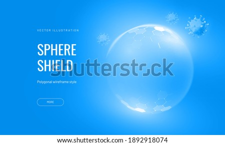 Protection shield with virus futuristic vector illustration on a blue background. Bubble shield in an abstract glowing style. Landing page and cover in tech style