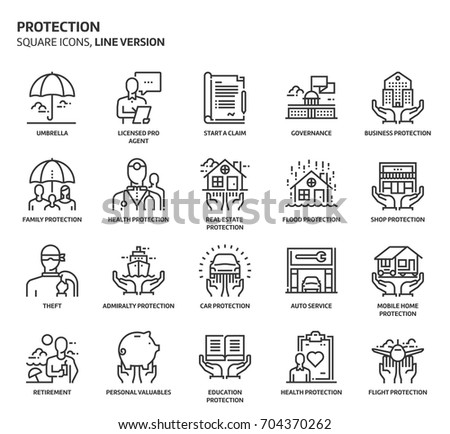 Protection, square icon set. The illustrations are a vector, editable stroke, thirty-two by thirty-two matrix grid, pixel perfect files. Crafted with precision and eye for quality.