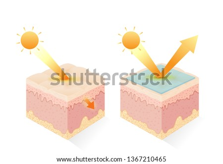 Protection UV ray of skin with uv filter and without. Illustration about sunblock cream and uv body lotion.