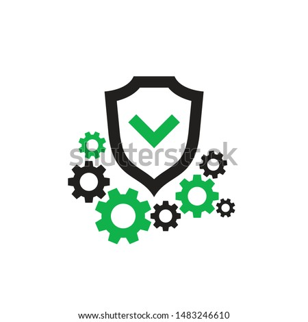 Protection vector icon design. Shield with check mark and gears cogwheels. SEO.