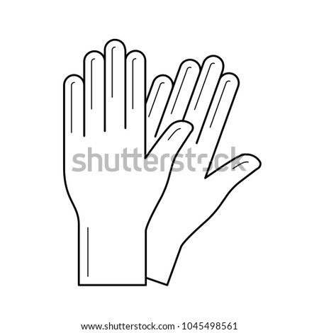 Protective gloves vector line icon isolated on white background. Pair of rubber medical gloves line icon for infographic, website or app.