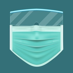 protective mask and glasses, Coronavirus, 2019-nCoV, covid-19, Lassa fever,  PM 2.5, wear a mask, vector illustration, isolated on blue background.