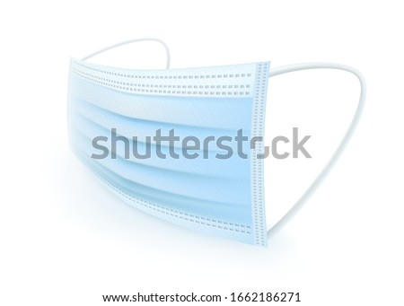 Protective mask with ear strap Cover mouth and nose, preventing dust, odor and various germs.Realistic vector file.