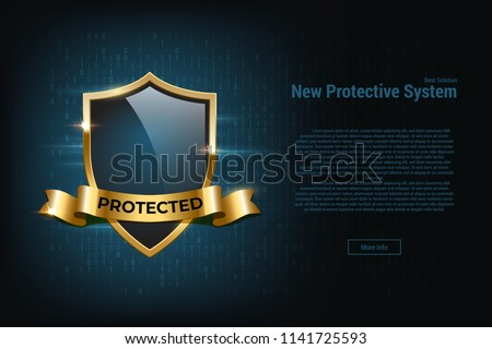 Protective System Banner Template Vector Glass Shield With Golden Border And Ribbon On Dark Blue