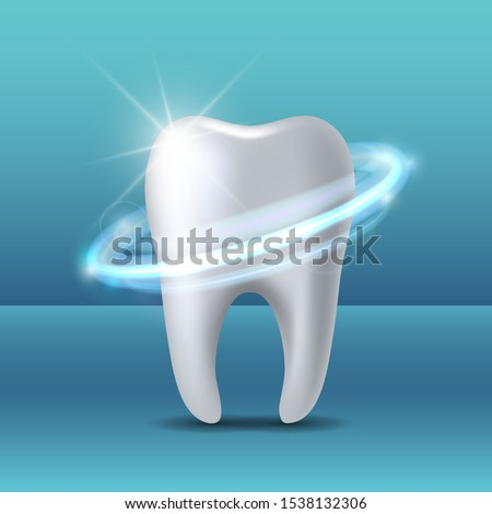 Protective vortex around tooth. Whitening of human tooth. Teeth protection, tooth care dental medical vector concept. 3d vector illustration.