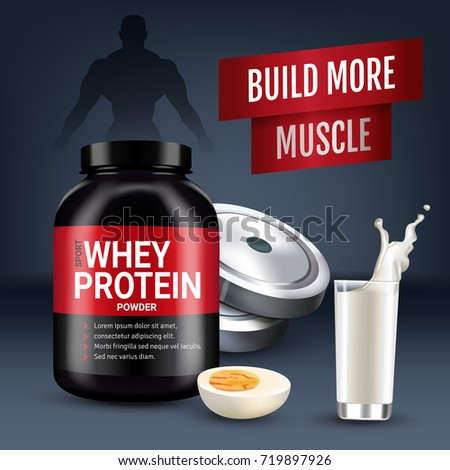Protein cocktail ads. Vector realistic illustration of cans with whey protein powder. Poster with product and sports equipment.