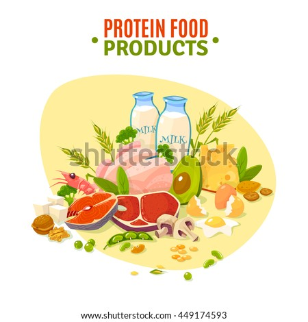 Protein containing products variety for healthy daily ration including dairy and vegetables flat background poster abstract vector illustration