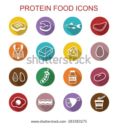 protein food long shadow icons