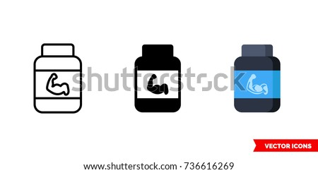 Protein icon of 3 types: color, black and white, outline. Isolated vector sign symbol.