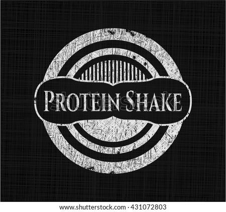Protein Shake chalk emblem, retro style, chalk or chalkboard texture